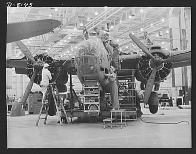 Production. A-20 attack bombers. Experienced assembly line workers of both sexes contribute to the production of A-20 attack bombers in the Douglas Aircraft plant at Long Beach, California. The A-20 is used by the American Air Force and the Royal Air Force (RAF) for hedge hopping and strafing operations against ground troops and installations--also for reconnaissance work and night fighting. It is armed with light and heavy caliber guns