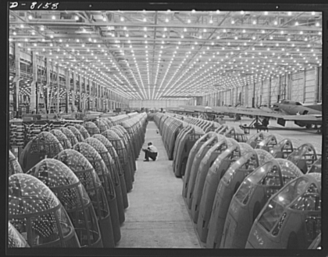 Production. A-20 attack bombers. Myriads of lights at the Long Beach, California, plant of Douglas Aircraft Company form pleasing star patterns in the shatterproof plexiglass windows of noses for A-20 attack bombers. The A-20 is used by the American Air Force and Royal Air Force (RAF) for hedge hopping and strafing operations against ground troops and installations--also for reconnaissance work and night fighting. It is armed with light and heavy caliber guns