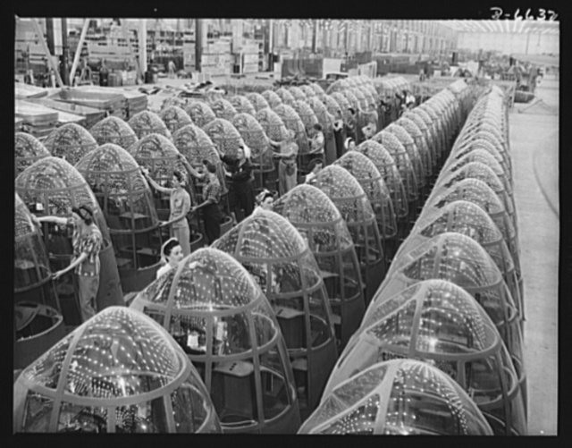 Production. A-20 attack bombers. Women workers at the Long Beach, California plant of Douglas Aviation Company groom lines of transparent noses for deadly A-20 attack bombers. The A-20 is used by the American Air Force and RAF (Royal Air Force) for hedge hopping and strafing operations against ground troops and installations; also for reconnaissance work and night fighting. It is armed with light and heavy caliber guns in varying combinations