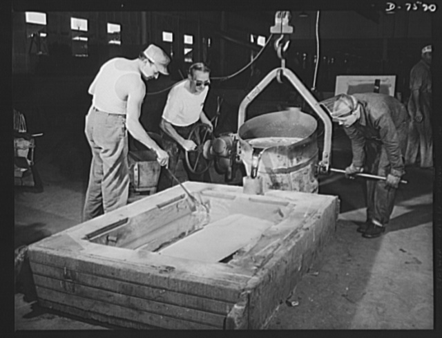 "Production. Airplane manufacture, general.  Kirksite is poured into a mold at the Inglewood, California, foundry of North American Aviation, Incorporated. The die that will be cast in this mold will be used in the forming of sheet metal parts for United Nations war planes. This plant produces the battle-tested B-25 (""Billy Mitchell"") bomber, used in General Doolittle's raid on Tokyo and the P-51 (""Mustang"") fighter plane, which was first brought into prominence by the British raid on Dieppe"