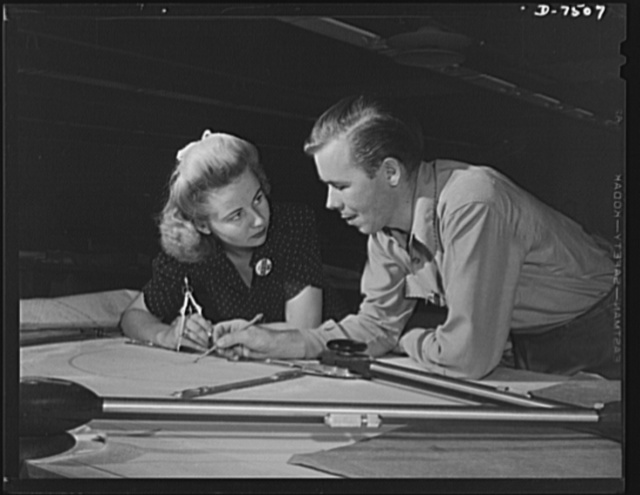 "Production. Airplane manufacture, general. Men and women work together in every department at the Inglewood, California, plant of North American Aviation, Incorporated. In the engineering department, two employees discuss a drawing of a new plane part. This plant produces the battle-tested B-25 (""Billy Mitchell"") bomber, used in General Doolittle's raid on Tokyo, and the P-51 (""Mustang"") fighter plane, which was first brought into prominence by the British raid on Dieppe"