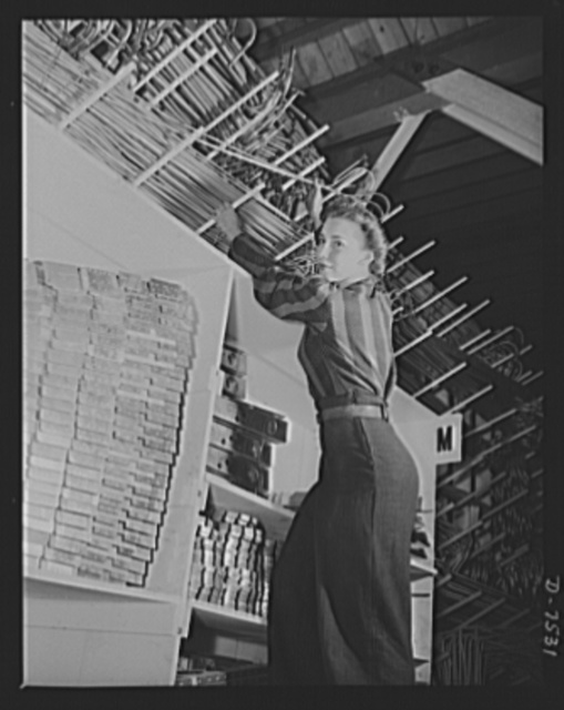 """Production. Airplane manufacture, general. Miles of preformed aluminum alloy tubing are placed on racks in stockrooms ready for assembly in bomber and fighter planes built at the Inglewood, California, plant of North American Aviation, Incorporated, where women are fast taking over the jobs of the stockmen. This plant produces the battle-tested B-25 (""""Billy Mitchell"""") bomber, used in General Doolittle's raid on Tokyo and the P-51 (""""Mustang"""") fighter plane, which was first brought into prominence by the British raid on Dieppe"""