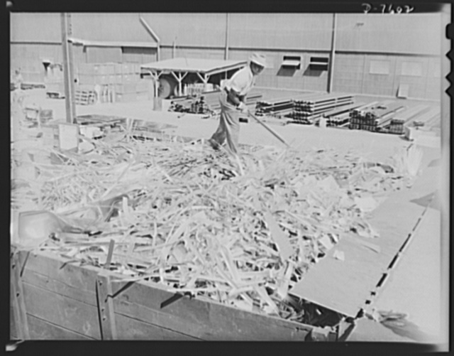 "Production. Airplane manufacture, general. Scrap aluminum at the Inglewood, California, plant of North American Aviation. The metal is segregated, placed in trucks and hauled to North America's salvage department for reclamation. This plant produces the battle-tested B-25 (""Billy Mitchell"") bomber, used in General Doolittle's raid on Tokyo, and the P-51 (""Mustang"") fighter plane, which was first brought into prominence by the British raid on Dieppe"