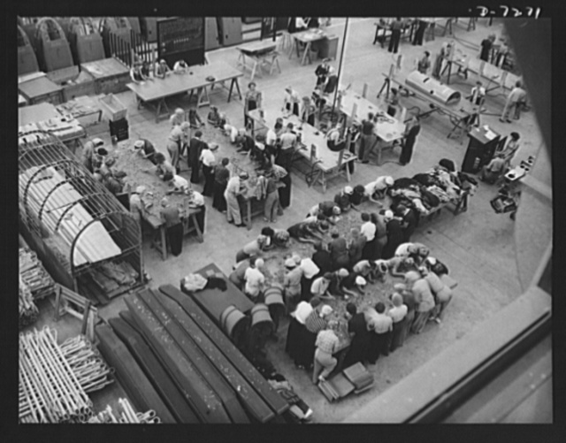 "Production. Airplane manufacture, general. Sorting rivets may seem a lowly task in the making of war planes. But it plays an essential part in the mass production of aircraft and in the conservation of vital materials. These workers at the Long Beach, California, plant of Douglas Aircraft Company help to keep many others working. Most important of the many types of aircraft made at this plant are the B-17F (""Flying Fortress"") heavy bomber, the A-20 (""Havoc"") assault bomber and the C-47 heavy transport plane for the carrying of troops and cargo"