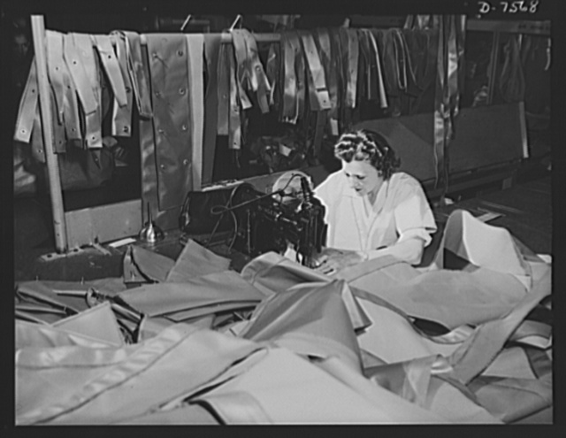 "Production. Airplane manufacture, general. The fabric department at Inglewood, California, plant of North American Aviation is the only department that had women employees before the war. Here, women sew the covering and control surface parts for bomber and fighter planes. This plant produces the battle-tested B-25 (""Billy Mitchell"") bomber, used in General Doolittle's raid on Tokyo, and the P-51 (""Mustang"") fighter plane, which was first brought into prominence by the British raid on Dieppe"
