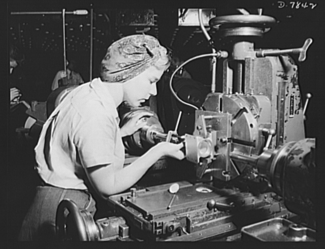 "Production. Airplane maufacture, general. Women become skilled shop technicians after careful training in the school at the Long Beach, California, plant of Douglas Aircraft Company. Most important of the many types of aircraft made at this plant are the B-17F (""Flying Fortress"") heavy bomber, the A-20 (""Havoc"") assault bomber and the C-47 heavy transport plane for the carrying of troops and cargo"