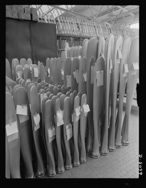 Production. Airplane propellers. Propeller blades that will soon be driving American warplanes are stored after final dimensional inspections at a Hartford, Connecticut, plant. The various blades will later be mounted, in sets of two, three, and four in the mechanism that will permit adjustment of pitch while planes are in action