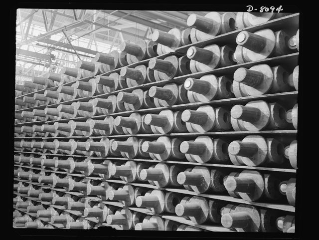 Production. Airplane propellers. Two-way spider forgings for Hamilton airplane propellers in the rough store department of a Hartford, Connecticut, plant. After precision machining these spiders will hold a two-blade propeller assembly in the hydromatic mechanism that controls the blade pitch during flight