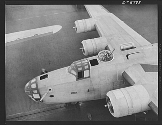 Production. B-24E (Liberator) bombers at Willow Run. Another B-24E (Liberator) bomber nears completion on one of the assembly lines at Ford's big Willow Run plant. A paint job comes next. The Liberator is capable of operation at high altitudes and over great ranges on precision bombing missions. It has proved itself an excellent performer in the Pacific, in Northern Africa, Europe and the Aleutians. Ford's Willow Run Plant, Michigan
