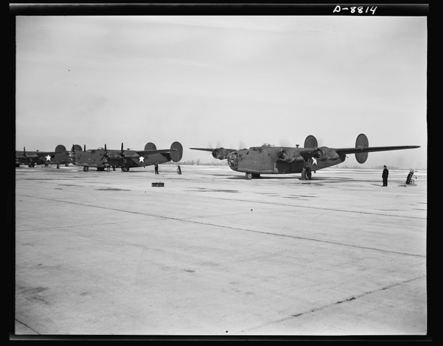 Production. B-24E (Liberator) bombers at Willow Run. New B-24E (Liberator) bombers, just off the assembly lines at Ford's big Willow Run plant, are lined up for test flights before they are accepted by the Army. The Liberator is capable of operation at high altitudes and over great ranges on precision bombing missions. It has proved itself an excellent performer in the Pacific, in Northern Africa, Europe and the Aleutians. Ford's Willow Run Plant, Michigan