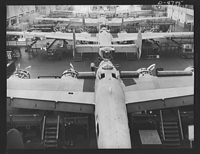 Production. B-24E (Liberator) bombers at Willow Run. One of the assembly lines at Ford's big Willow Run plant. The Liberator is capable of operation at high altitudes and over great ranges on precision bombing missions. It has proved itself an excellent performer in the Pacific, in Northern Africa, Europe and the Aleutians. Ford's Willow Run Plant, Michigan