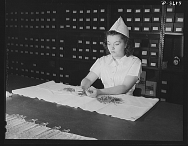 Production. Blood transfusion bottles. Valve needles for blood transfusion donor bottles are inspected for defects by Betty McGrath, an employee of Baxter Laboratories, Glenview, Illinois. Miss McGrath was formerly a waitress; her sister is an Army nurse