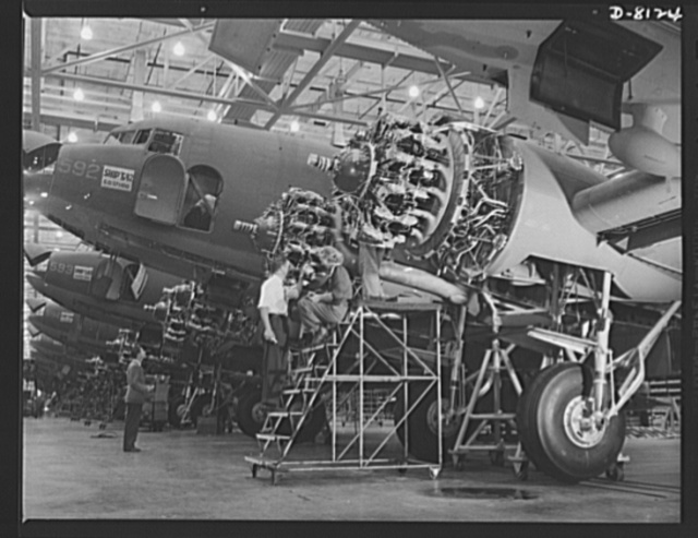 Production. C-47 transport planes. Close spacing on the Douglas assembly lines at Long Beach, California, is the order of the day as production of C-47 transports and other warplanes hits a new high. The versatile C-47 performs many important tasks for the Army. It ferries men and cargo across the oceans and mountains, tows gliders and brings paratroopers and their equipment to scenes of action