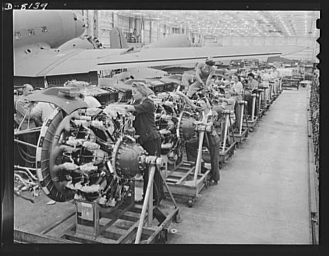 Production. C-47 transport planes. Engines for C-47 transport planes ready for the assembly line at Long Beach, California, Douglas Aircraft Company. The versatile C-47 performs many important tasks for the Army. It ferries men and cargo across oceans and mountains, tows gliders and brings paratroopers and their equipment to scenes of action