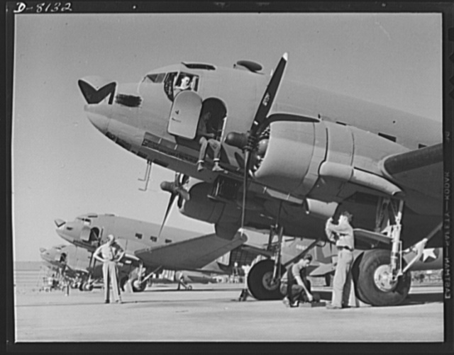 Production. C-47 transport planes. Expert mechanics complete final delivery arrangements on a group of C-47 transport planes at the Long Beach, California, plant of Douglas Aircraft Company. The versatile C-47 performs many important tasks for the Army. It ferries men and cargo across oceans and mountains, tows gliders and brings paratroopers and their equipment to scenes of action