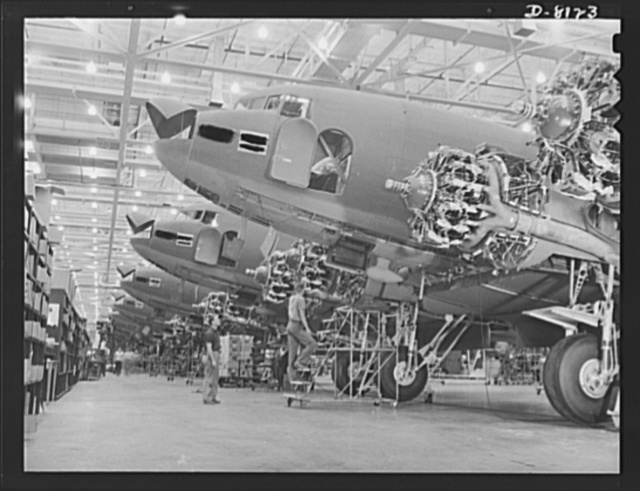 Production. C-47 transport planes. Great numbers of C-47 transport planes are coming off the assembly lines of Douglas Aircraft Company at Long Beach, California. The versatile C-47 performs many important tasks for the Army. It ferries men and cargo across the oceans and mountains, tows gliders and brings paratroopers and their equipment to scenes of action