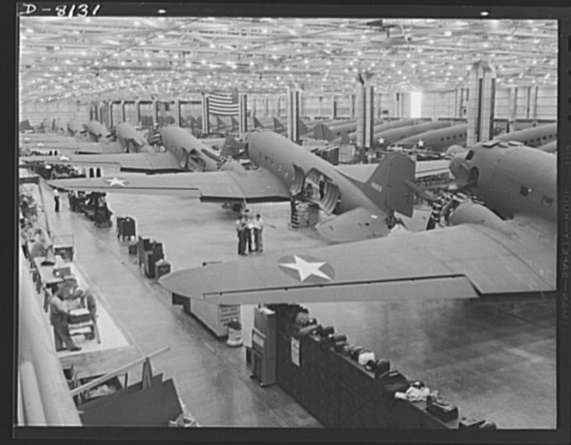 Production. C-47 transport planes. Great numbers of C-47 transport planes move along the assembly lines at the Douglas Aircraft Company plant at Long Beach, California. The versatile C-47 performs many important tasks for the Army. It ferries men and cargo across oceans and mountains, tows gliders and brings paratroopers and their equipment to scenes of action