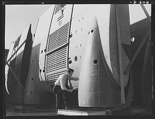 Production. C-47 transport planes. Inner wings for C-47 transport planes are carefully inspected before being joined to fuselages at the Long Beach, California, plant of Douglas Aircraft Company. The versatile C-47 performs many important tasks for the Army. It ferries men and cargo across the oceans and mountains, tows gliders and brings paratroopers and their equipment to scenes of action