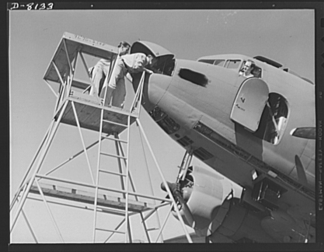 Production. C-47 transport planes. On the flight line of Douglas Aircraft Company at Long Beach, California, expert mechanics complete final adjustments before a C-47 transport plane makes trial flight. The versatile C-47 performs many important tasks for the Army. It ferries men and cargo across oceans and mountains, tows gliders and brings paratroopers and their equipment to scenes of action