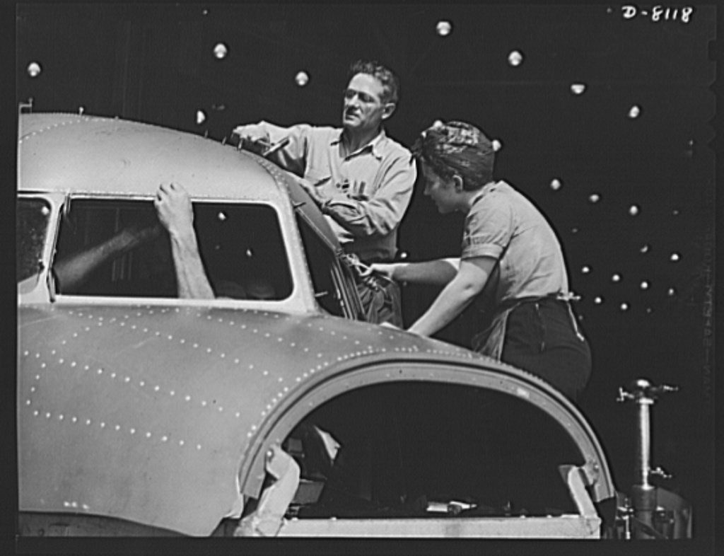 Production. C-47 transport planes. The nose of a C-47 transport plane takes shape under the expert hands of men and women workers at the Long Beach, California, plant of Douglas Aircraft Company. The versatile C-47 performs many important tasks for the Army. It ferries men and cargo across the oceans and mountains, tows gliders and brings paratroopers and their equipment to scenes of action