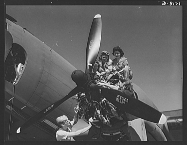 Production. C-47 transport planes. These women mechanics at the Long Beach, California, plant of Douglas Aircraft Company are learning some of the fine points of the mighty engines that power the C-47 transport plane. The versatile C-47 performs many important tasks for the Army. It ferries men and cargo across the oceans and mountains, tows gliders and brings paratroopers and their equipment to scenes of action