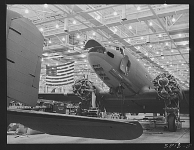 Production. C-47 transport planes. Wing installation engine and tuneup are among the final operations in the building of C-47 transport planes  in the Long Beach, California, plant of Douglas Aircraft Company. The versatile C-47 performs many important tasks for the Army. It ferries men and cargo across oceans and mountains, tows gliders and brings paratroopers and their equipment to scenes of action