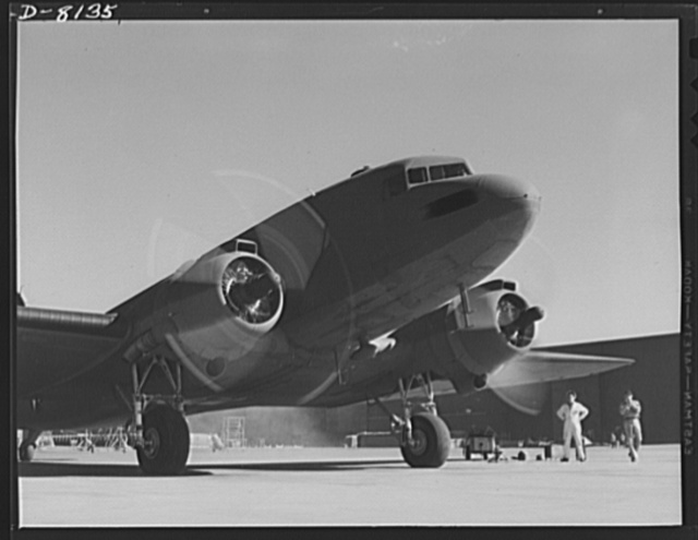 Production. C-47 transport planes. With its engines roaring a mighty crescendo of power, a C-47 transport plane, just completed at the Long Beach, California, plant of the Douglas Aircraft Company prepares to take off for its flight test, prior to delivery for military services. The versatile C-47 performs many important tasks for the Army. It ferries men and cargo across oceans and mountains, tows gliders and brings paratroopers and their equipment to scenes of action