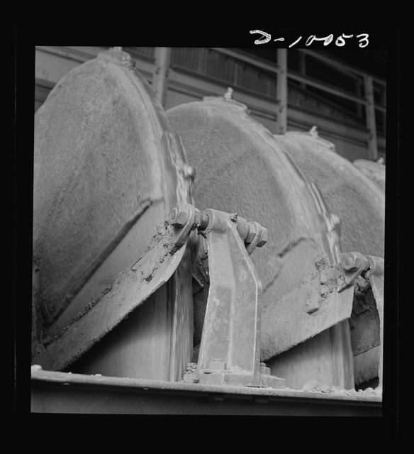 Production. Copper. Filter at a copper concentrator of the Phelps-Dodge Mining Company at Morenci, Arizona. This plant is supplying great quantities of the copper so vital in our war effort