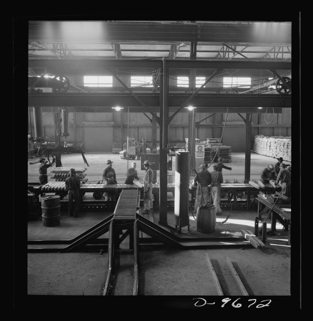 Production. Copper (refining). Copper ingots on conveyors at a large copper refining operation. Large amounts of copper are produced for the war effort at the El Paso, Texas plant of Phelps-Dodge Refining Company