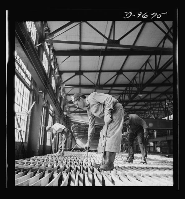 Production. Copper (refining). Electrolytic tanks in a large copper refining operation. Sheets of pure copper are formed by electrolysis, later melted and poured into ingots. Large amounts of copper are produced for the war effort at the El Paso, Texas plant of Phelps-Dodge Refining Company