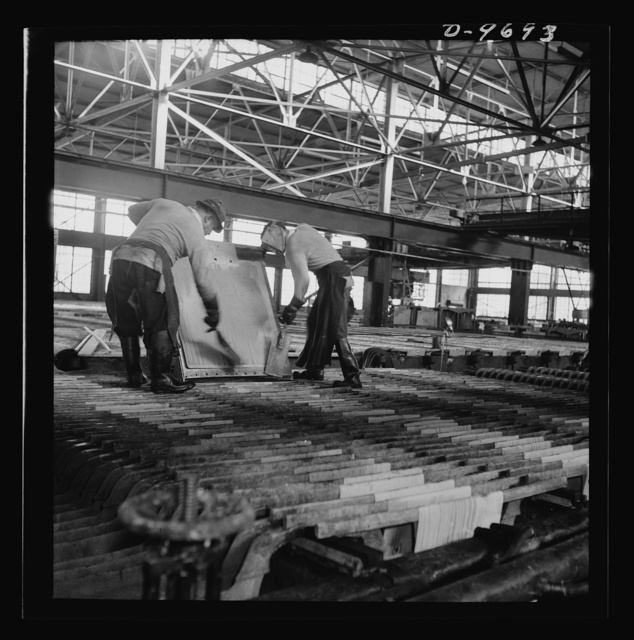 Production. Copper (refining). Sheets of copper produced by electrolysis at a large refining operation. These will be melted and cast into ingots. Large amounts of copper are produced for the war effort at the El Paso, Texas plant of Phelps-Dodge Refining Company