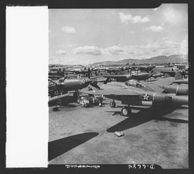 Production. Lockheed P-38 pursuit planes. Lockheed P-38 pursuit ships are made ready for test flights at a large Western aircraft plant. These planes, powered by twin Allison liquid-cooled engines, have performed brilliantly in action, notably in the Aleutians. The P-38 has long range and great firepower and rates at its best altitude as one of the world's fastest fighting ships