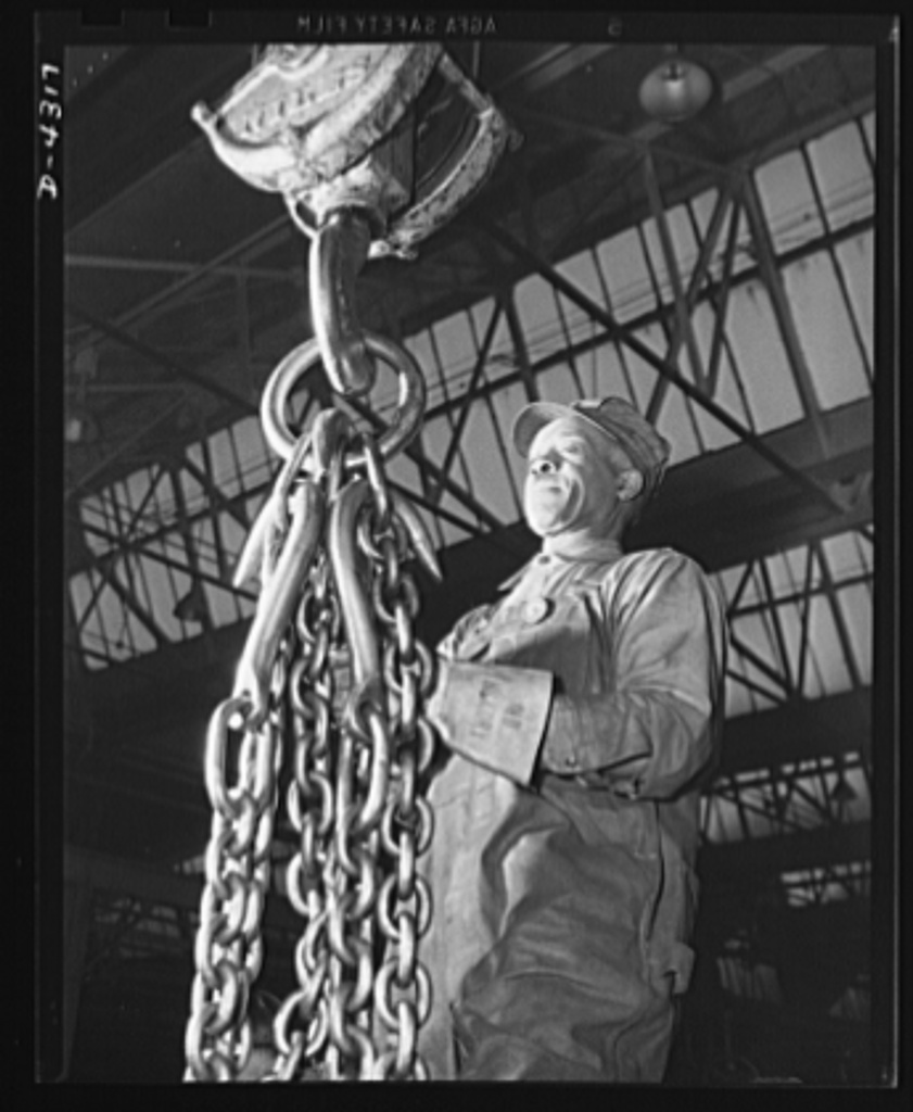 Production. Milling machines and machine castings. Cranes do most of the lifting in the foundry of a large Midwest machine tool plant. Massive chains like this one are needed for handling the heavy flasks and finished castings