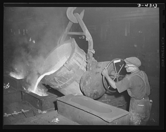 Production. Milling machines and machine castings. When a full ladle comes along, there must be enough molds ready to take the whole load. Nowhere is Time so stern a master as it is in the foundry. Iron must be poured when it's right -- or thrown out, cooled, and returned to the cupola. Location: a large Midwest tool plant