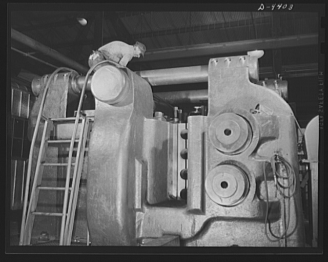Production. Pipe fittings. The world's largest machine of its kind, a nine inch upsetter, is used in a Midwest plant to forge 75 mm shells for the Army. Tube Turn Incorporated