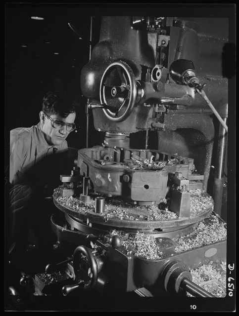 Production. Pratt and Whitney airplane engines. A cover case for a Pratt and Whitney airplane engine is milled on a Milwaukee vertical miller in a large Eastern plant now working at full tilt to supply our armed forces with superior power installations. Pratt and Whitney Aircraft