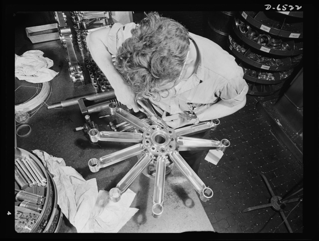 Production. Pratt and Whitney airplane engines. A single-row rod assembly for a Pratt and Whitney airplane engine takes shape in an Eastern war plant now producing at full capacity for our armed forces. Pratt and Whitney Aircraft