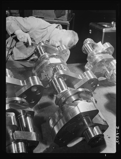 Production. Pratt and Whitney airplane engines. Crankshaft assembles for Pratt and Whitney airplane engines must undergo a rigid inspection in a large Eastern war plant now working full tilt to supply our armed forces with power installations for our war planes. Pratt and Whitney Aircraft