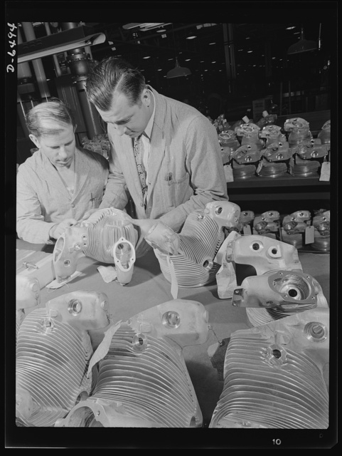 Production. Pratt and Whitney airplane engines. Cylinder heads for R-1340 Wasp planes are inspected in a large Eastern plant now producing a huge number of fine American engines for our fighting air forces. Pratt and Whitney Aircraft