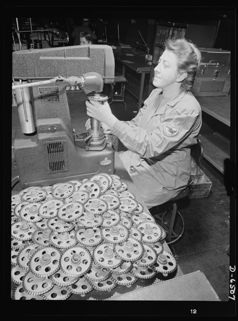 Production. Pratt and Whitney airplane engines. Magneto driving gears for Pratt and Whitney airplane motors are tested for hardness on a Rockwell machine in a large Eastern plant producing engines in great numbers for our armed forces. Pratt and Whitney Aircraft