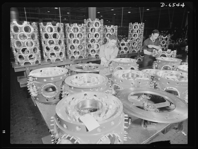 Production. Pratt and Whitney airplane engines. Stud bolts are installed on power cases for Pratt and Whitney airplane motors in a large Eastern plant. This plant is now making great numbers of the finest kind of airplane engines for the plane of our growing air force. Pratt and Whitney Aircraft