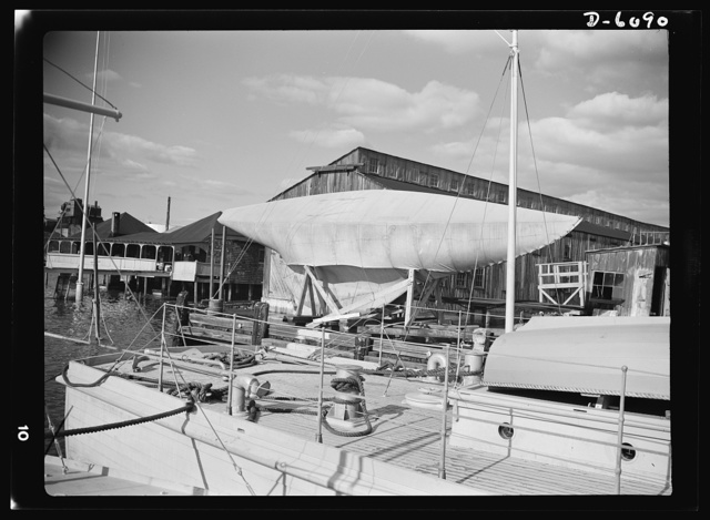 Production. Submarine chasers. Out of commission for the duration. A pleasure yacht is laid up at the yard of an Eastern boat builder now making subchasers and other Navy boats exclusively. Marine Construction Company, Stamford, Connecticut