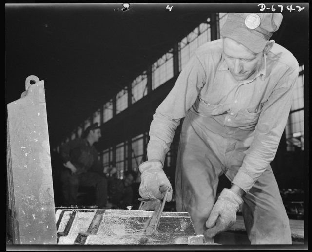 "Production. Tin smelting. ""Bars"" of pure tin are trimmed and cleaned before removal from the molds in which they were formed in a Southern smelter. All the trimmings are returned to the ""pot boilers"" for remelting. The plant, finest and most modern in the world, extracts the pure metal from South American ore"