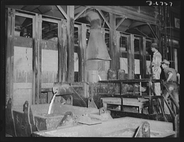Production. Tin smelting. Tapping the furnace of a Southern tin smelter in which pure tin is extracted from the raw ore of South American mines. Here tin is drawn off into floats which weigh about eighteen tons when filled. The metal is then conveyed to polling kettles, where dross or skimmings are drawn off and forwarded to another furnace for re-melting