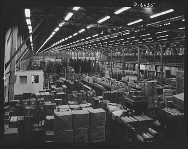 Production. Ventura bombers. Part of the makings of Ventura bombers that will soon be giving Tokyo, Berlin, and Rome some idea of the strength and efficiency of America's serial battle fleets. A section of the warehouse of a large Western aircraft plant in which various types of fighting and bombing planes are being built. Vega Aircraft Corporation, Burbank, California