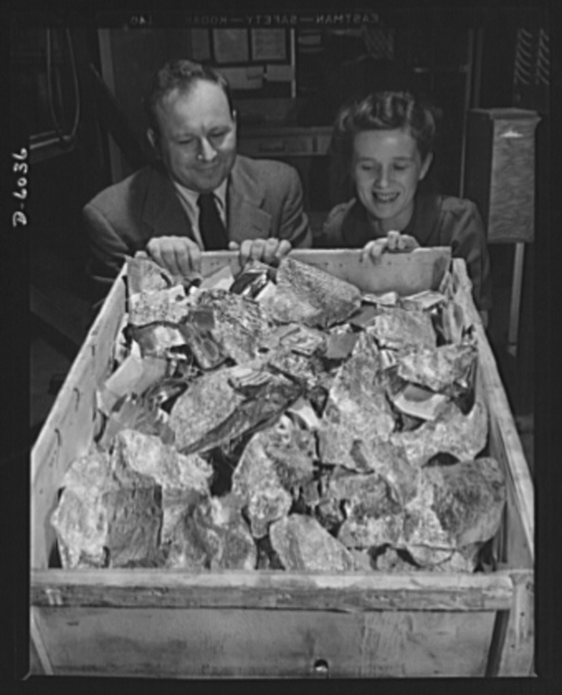 Production. Ventura bombers. Tinfoil--and only part of one day's collection--made by employees of a large Western aircraft plant. These same workers are making another, and more important, contribution to America's war effort: they are producing a steady stream of Ventura bombers and other fighting and bombing planes. Vega Aircraft Corporation, Burbank, California