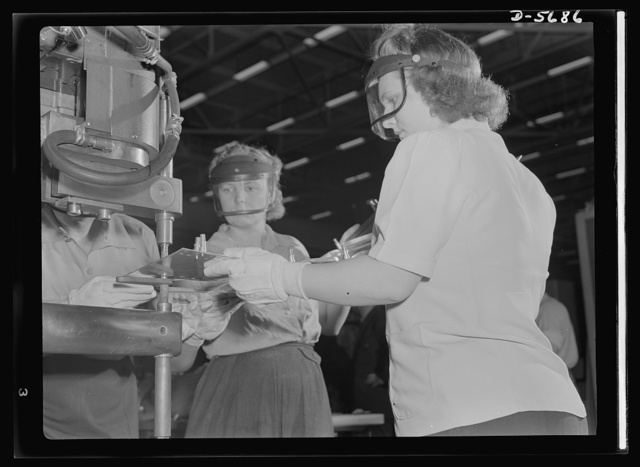 Production. Willow Run bomber plant. Working with skill and precision, these women operate a spot welding machine in the largest single story building in the world, Ford's giant bomber plant at Willow Run, Michigan. Ford plant, Willow Run