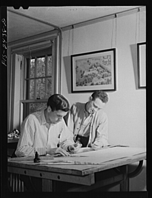 Raymond Freeman, senior, from Omaha, Nebraska and Jack Gibson, junior, from Perry, Iowa working on plans for the layout of a farmstead. The emphasis in the Landscape Architecture School is on community planning rather than the beautification of estates of private individuals. Iowa State College, Ames, Iowa