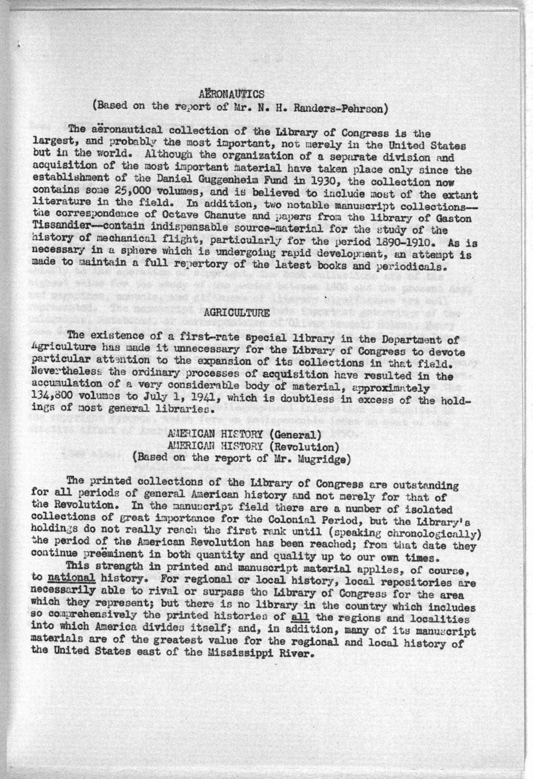 Report on Collections in the Library of Congress, May 27, 1942