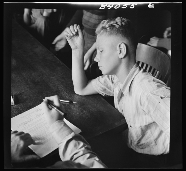 Richwood, West Virginia. Sixteen year old high school boy making a contract to help in the harvest in upper New York state